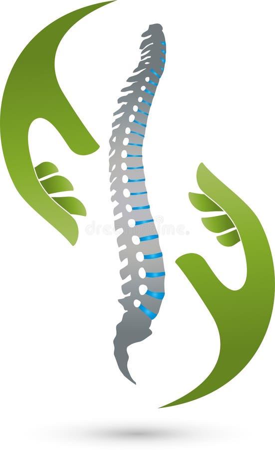 Två händer och rygg som färgas, ortopedi- och sjukgymnastiklogo vektor illustrationer