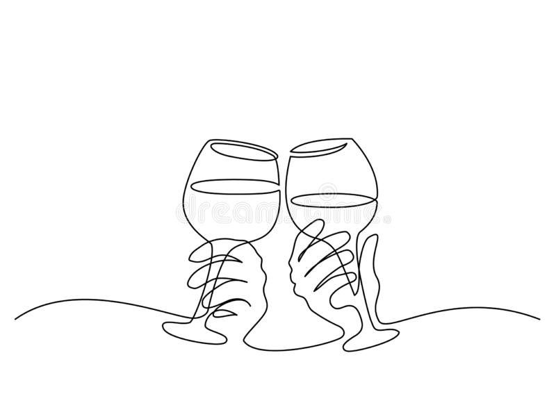 Två händer som hurrar med exponeringsglas av vin royaltyfri illustrationer