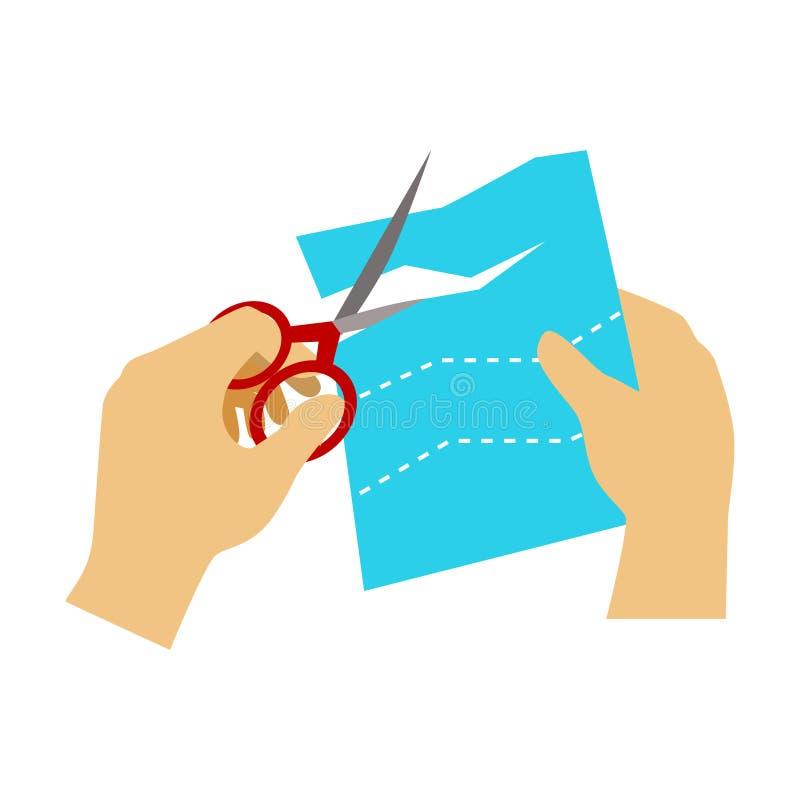 Två händer som klipper papper med sax för Applique, grundskola Art Class Vector Illustration royaltyfri illustrationer