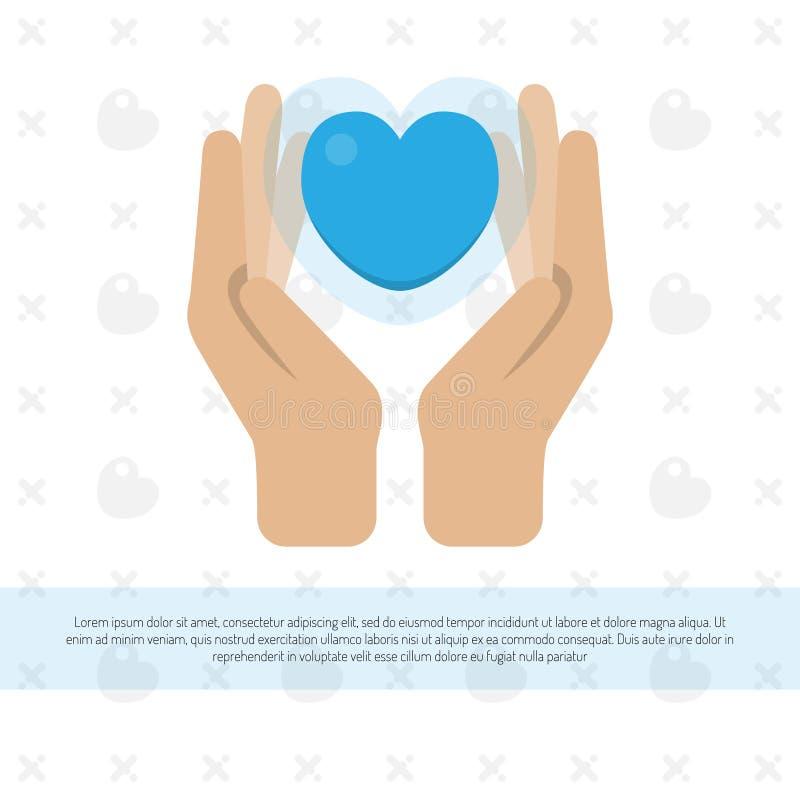 Två händer som rymmer en hjärta också vektor för coreldrawillustration vektor illustrationer