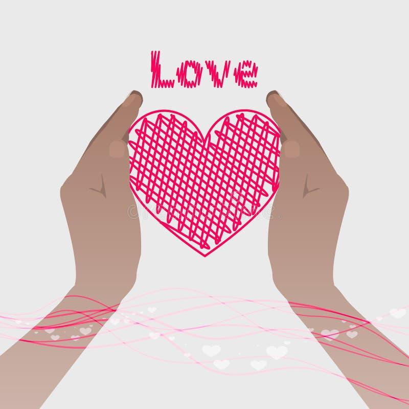 Två händer som rymmer en rosa hjärta med linjen royaltyfri illustrationer