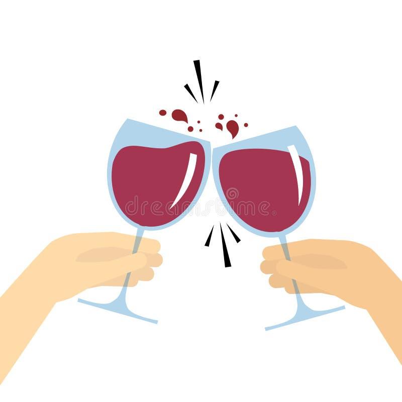 Två händer som rymmer exponeringsglas med rött vin och att rosta vektor illustrationer
