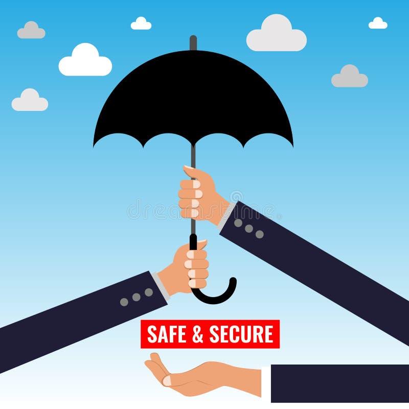 Två händer som rymmer paraplyet Två armar med paraplyet Illustration för skydds- och säkerhetsbegreppsvektor stock illustrationer