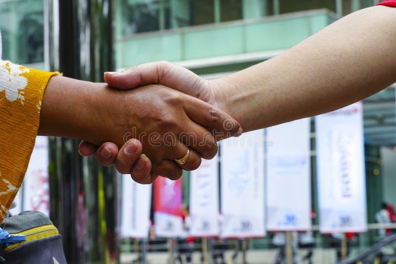Två händer som skakar om verksamheten royaltyfria foton