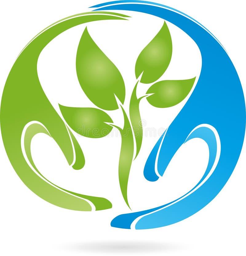 Två händer, växt, naturläkare, natur, logo vektor illustrationer