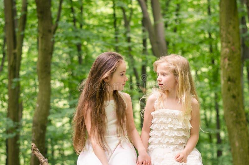 Två härliga barn som sitter i äng arkivbild