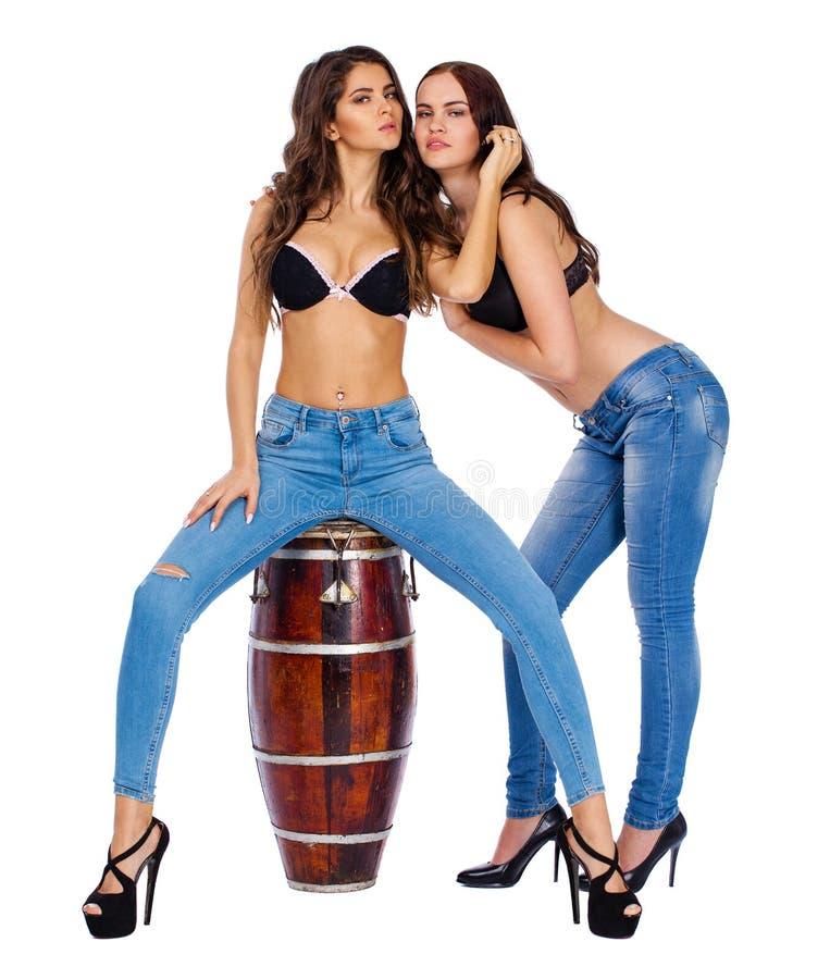 Två härliga berunettekvinnor royaltyfri bild