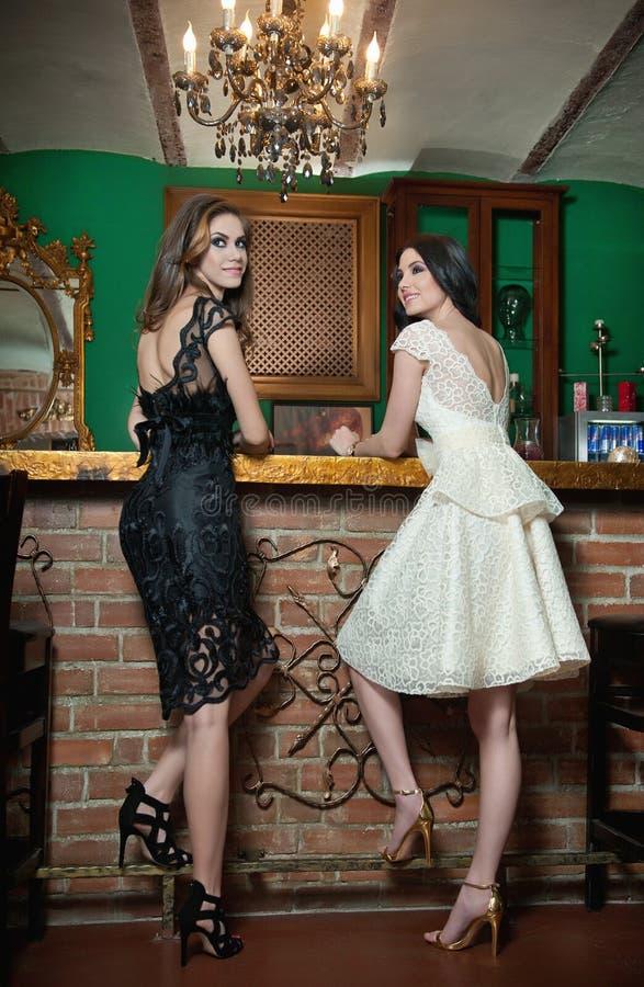 Två härliga brunettdamer i elegant svartvitt snör åt klänningar som poserar i tappninglandskap royaltyfri bild
