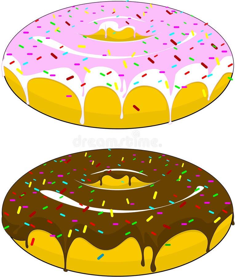 Två härliga donuts med isläggning och choklad som strilas med godisar, på en isolerad bakgrund vektor illustrationer