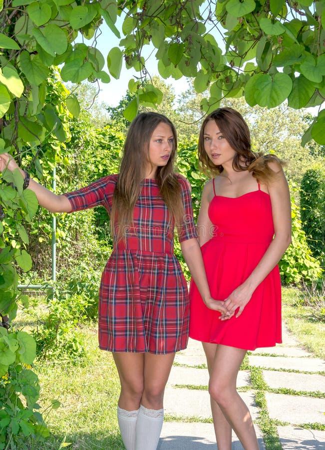 Två härliga flickvänner, modeller i en parkera royaltyfria bilder