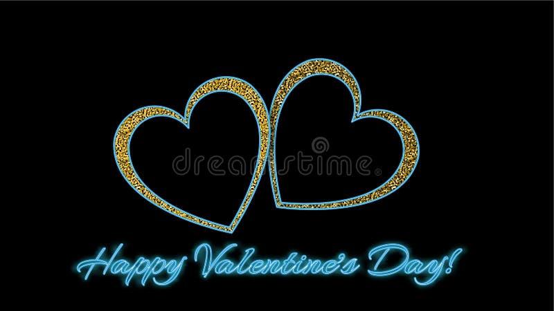Två härliga guld- skinande härliga hjärtor med förälskelseinskriftvalentin dag och neoneffekt på en svart bakgrund royaltyfri illustrationer