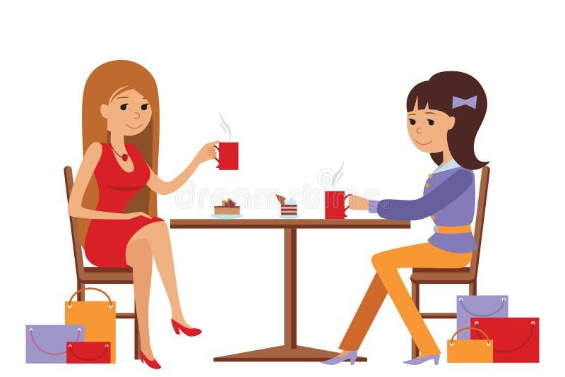 Två härliga kvinnor som talar på coffee shop, medan dricka royaltyfri illustrationer