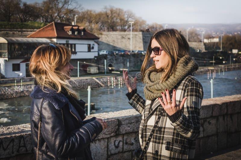 Två härliga två härliga prata flickor arkivfoto