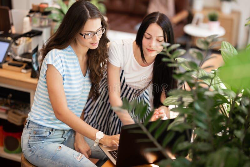 Två härliga slanka flickor med långt mörkt hår, bärande tillfällig stil, sitter på tabellen och ser uppmärksamt på bärbara datorn arkivfoton