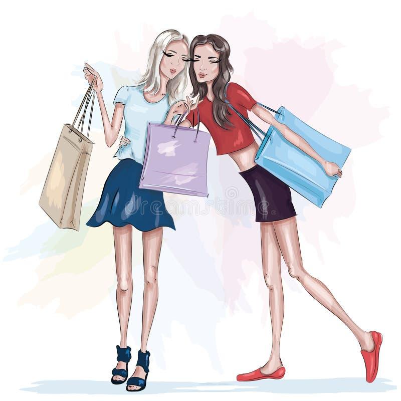 Två härliga slanka flickor med shoppingpåsar fashion flickor Stilfulla nätta kvinnor skissa vektor illustrationer
