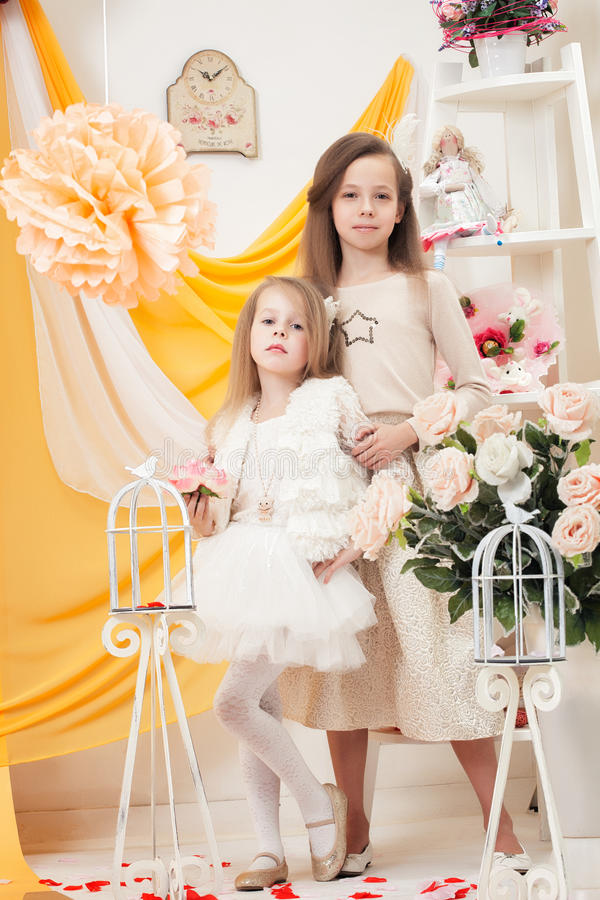 Två härliga systrar annonserar feriedress royaltyfria bilder