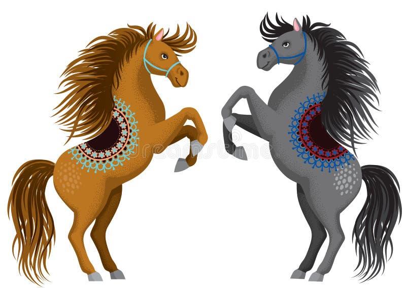 Två härliga tecknad filmhästar som står på deras bakre ben royaltyfri illustrationer