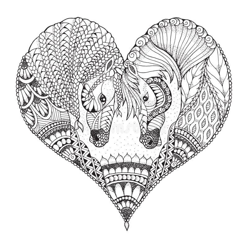Två hästar som visar affektion i en hjärtaform Zentangle stock illustrationer
