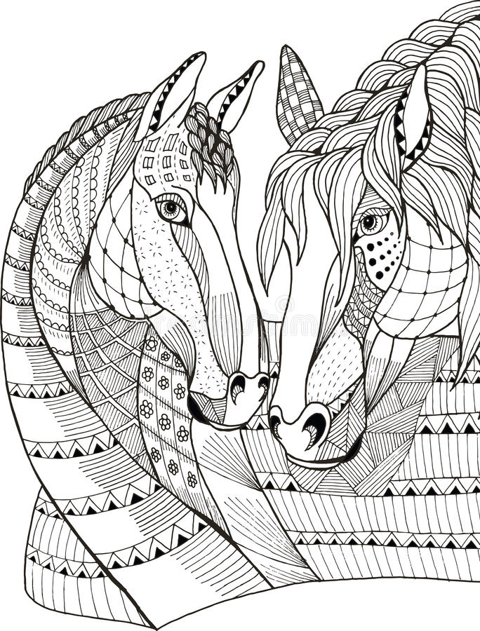 Två hästar som visar affektion, zentangle stiliserade, vektorn royaltyfri illustrationer