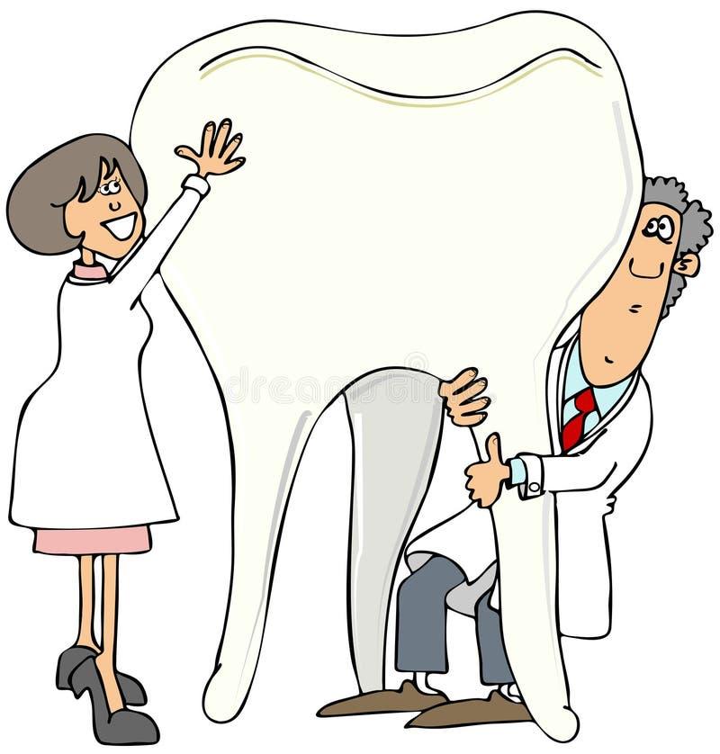 Två hållande övre för tandläkare en jätte- tand royaltyfri illustrationer