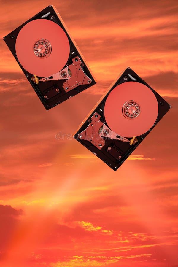 Två hårda magnetiska disketter royaltyfri foto