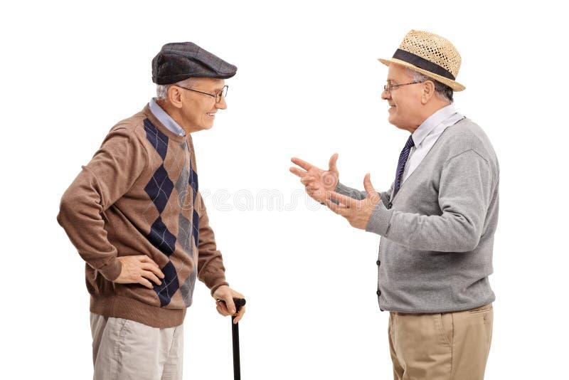 Två höga gentlemän som till varandra talar royaltyfri fotografi