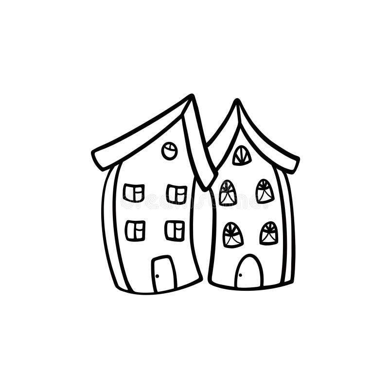 Två högväxta hus som lutas in mot de Svartvit illustration p? en vit bakgrund stock illustrationer