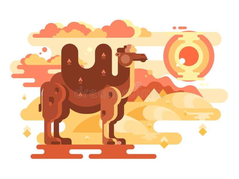 Två-ha sex med kamel i öken stock illustrationer
