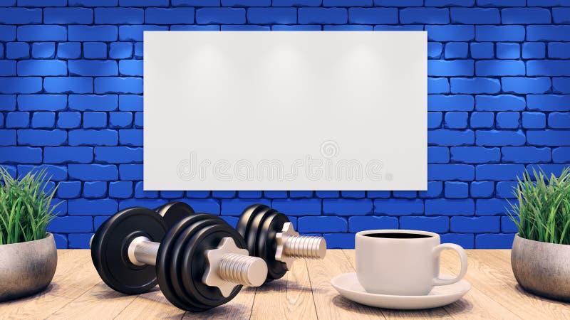 Två hantlar och en kopp kaffe på en trätabell Vit tom affisch på den blåa tegelstenväggen illustration 3d vektor illustrationer
