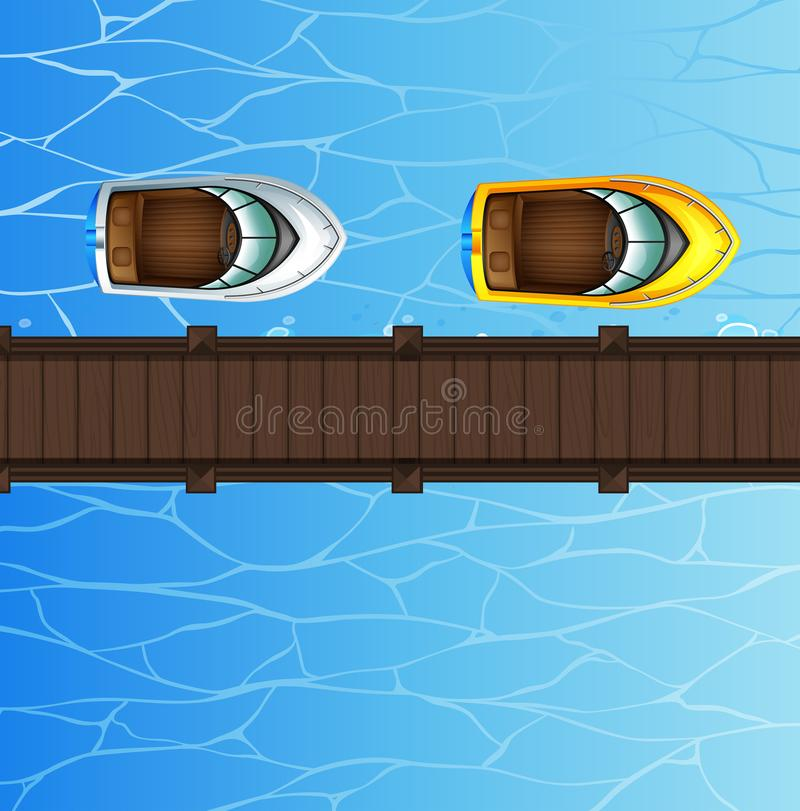 Två - hastighetsfartyg som svävar vid bron stock illustrationer