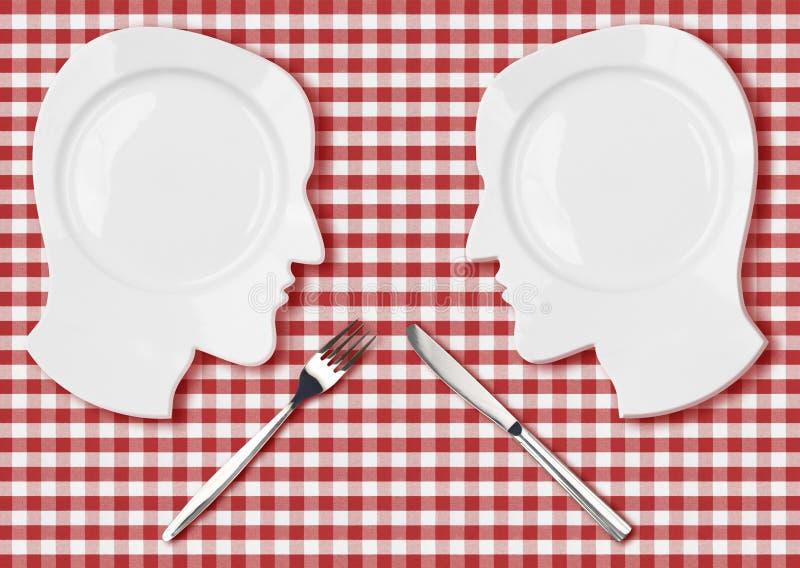 Två head plattor med kniven och gaffeln slåss begrepp royaltyfri illustrationer