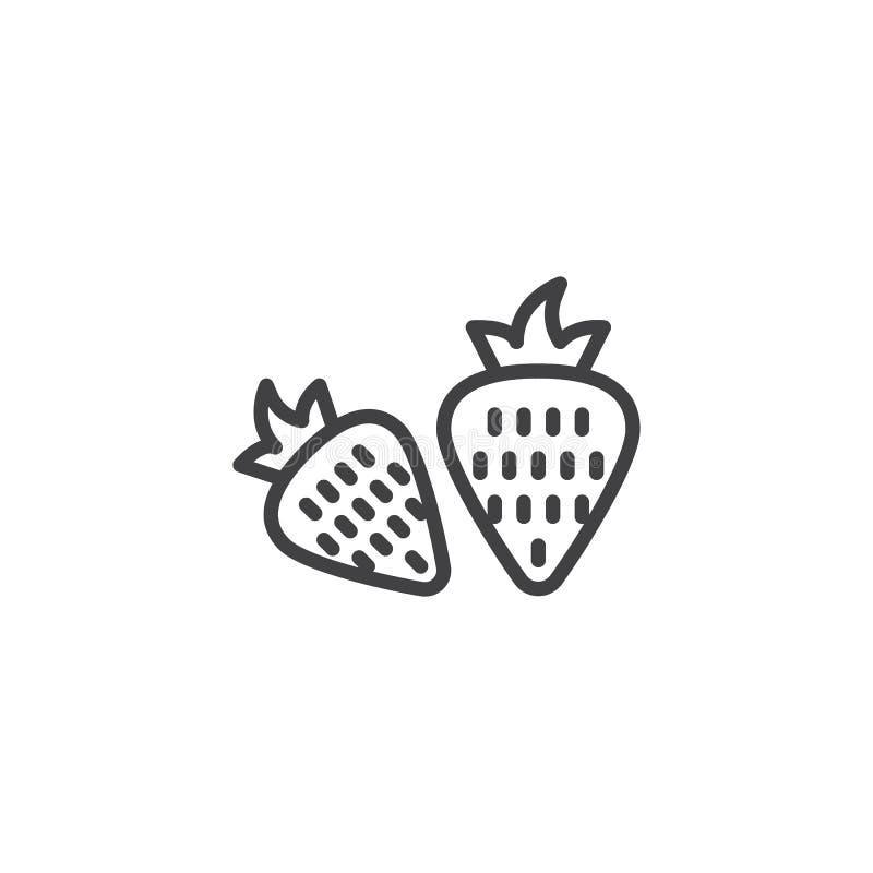 Två hela jordgubbar fodrar symbolen royaltyfri illustrationer