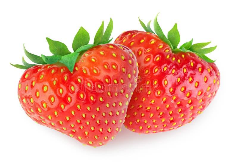 Två hjärta-formade jordgubbar royaltyfri foto