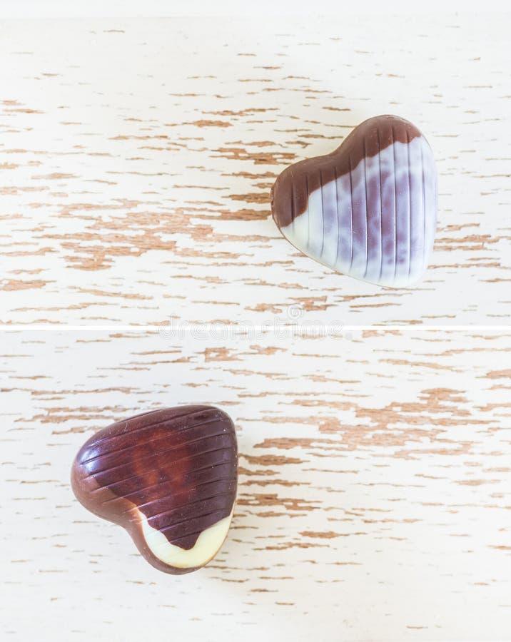 Två hjärtor för chokladgodis arkivbilder
