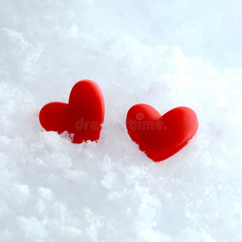 Två hjärtor i snowen royaltyfri fotografi