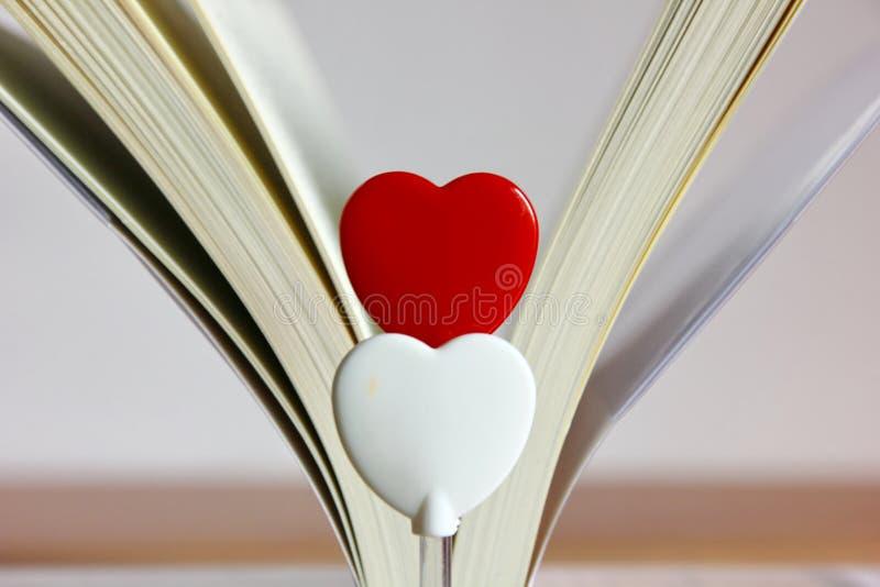 Två hjärtor med bokbakgrund royaltyfri foto