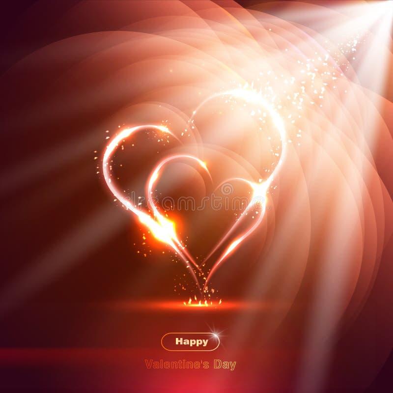 Två hjärtor på en ljus bakgrund med strålar, neon, royaltyfri illustrationer