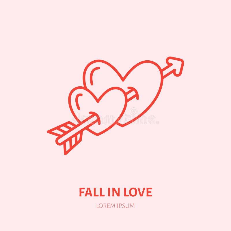 Två hjärtor som trängas igenom av illustrationen Förälskad plan linje symbol, romantiskt förhållande för nedgång Tecken för valen stock illustrationer