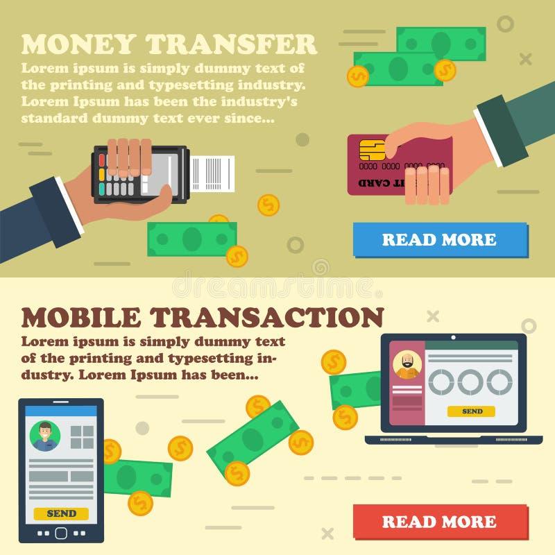 Två horisontalbaner - mobil betalning stock illustrationer