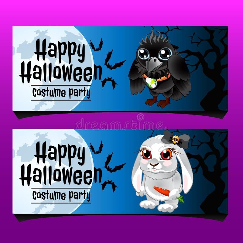 Två horisontalkort med kanin och galandet royaltyfri illustrationer