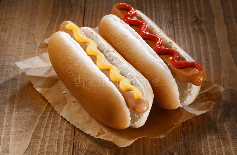 Två hotdogs med senap och ketchup royaltyfri fotografi