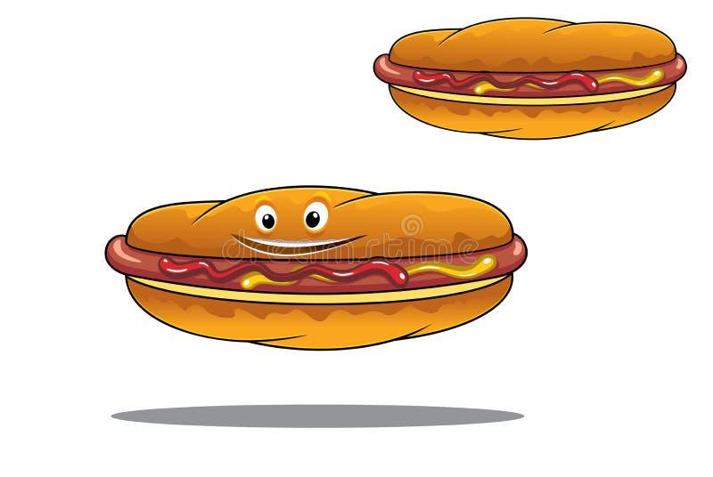 Två hotdogs med senap och ketchup royaltyfri illustrationer