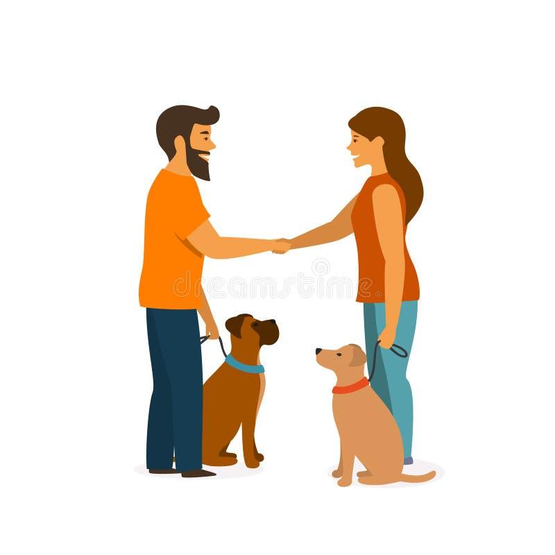 Två hundägare som utbildar deras husdjur för att sitta tätt, uppför, när de möter hälsning royaltyfri illustrationer