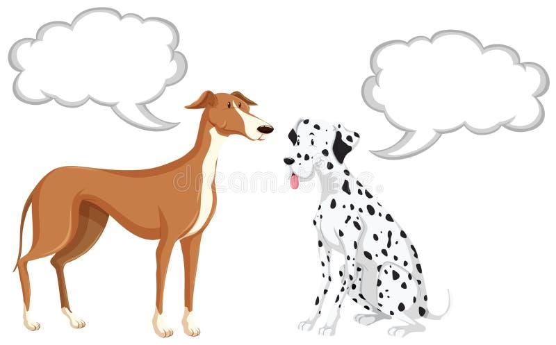 Två hundkapplöpning med anförandebubblor vektor illustrationer