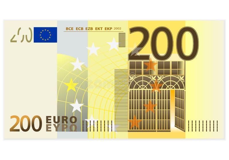 Två hundra eurosedel stock illustrationer