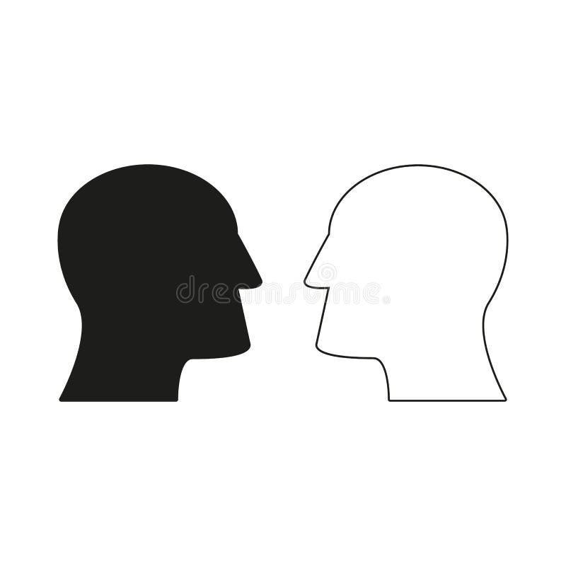 Två huvud av symboler kommer upp idé royaltyfri illustrationer