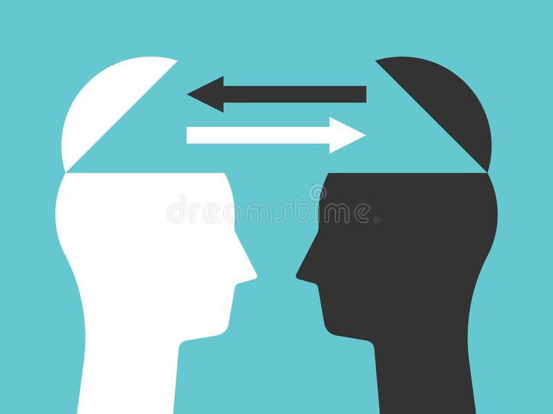 Två huvud som utbyter tankar vektor illustrationer