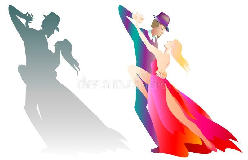Två illustrationer av mannen och kvinnan som dansar tango vektor illustrationer