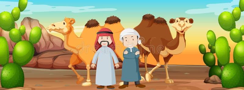 Två islamiska män och kamel i öknen stock illustrationer