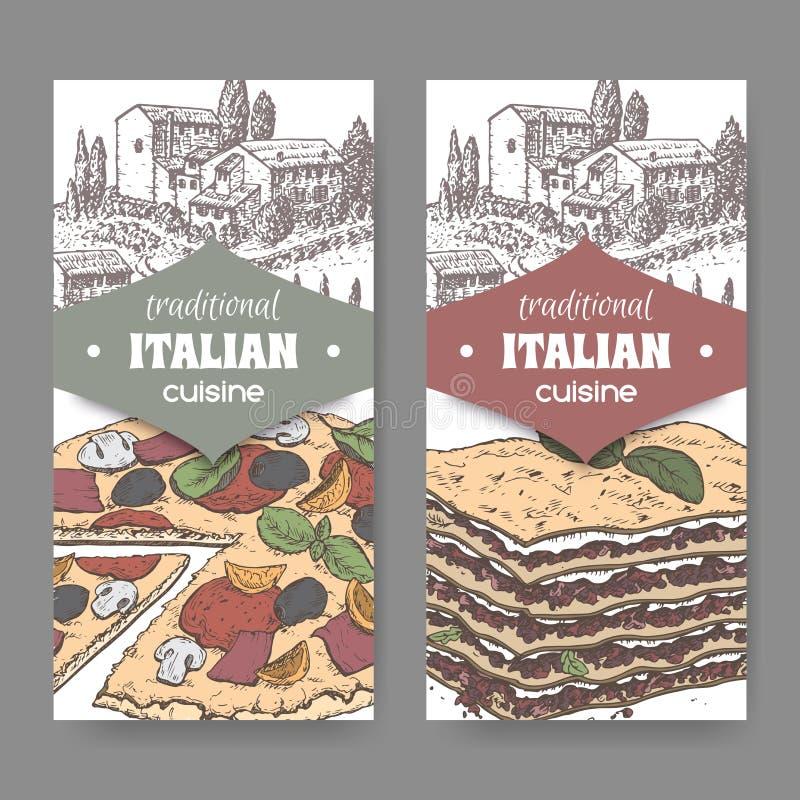 Två italienarekokkonstetiketter med landskap, färgpizza och lasagner royaltyfri illustrationer